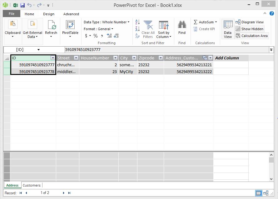 Power Pivot data model